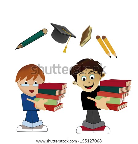 two boys carrying some books going back to school - stock vector