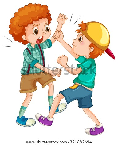 Two boys fighting each other illustration - stock vector