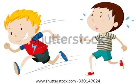 Two boys running fast and slow illustration - stock vector