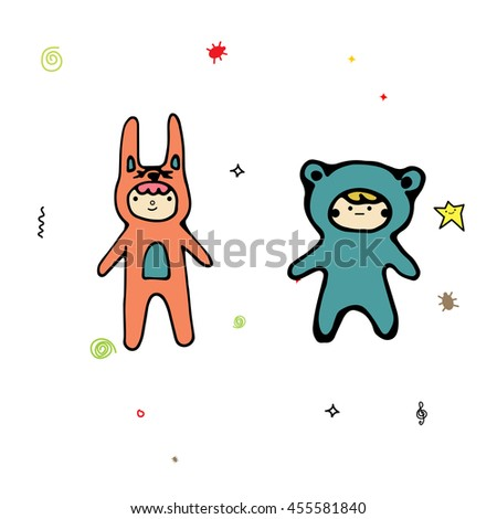 Two boys stand on isolated background in fancy dress. Cartoon children with smiley on their face in cute clothes. Kids in pajamas illustration - stock vector