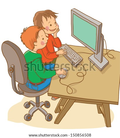 Two boys studying with computer.School activities. Back to School isolated objects on white background. Great illustration for a school books and more. VECTOR. - stock vector