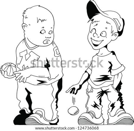 Two boys with a baseball (vector illustration); - stock vector