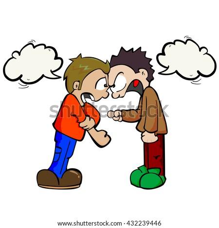 Two Boys Speech Bubbles Fighting Cartoon Stock Vector ...