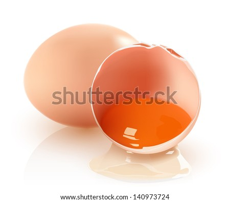 Two brown eggs on a white background. Vector. - stock vector