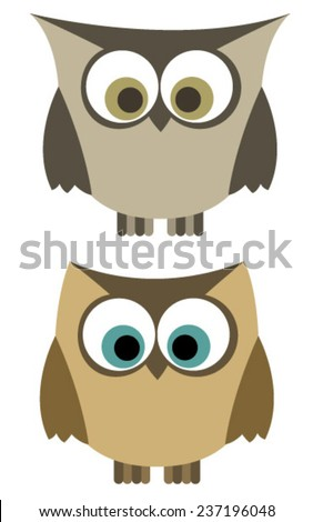 two brown owls - stock vector
