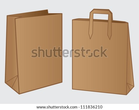 Paper Bag Design Vector Two Brown Paper Bag Design