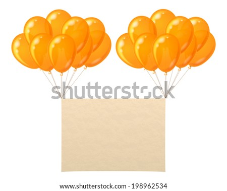 Two bunches of colorful orange balloons flying with sheet of paper for holiday design. Eps10, contains transparencies. Vector - stock vector