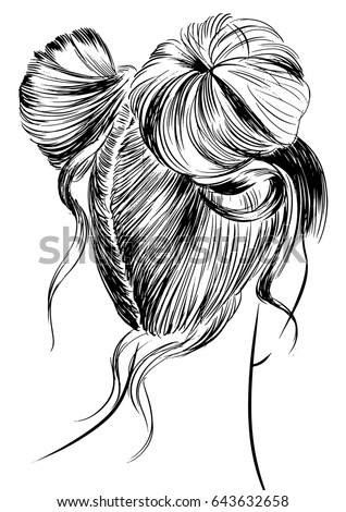 Drawing Short Hair Double Bun Www Picturesso Com