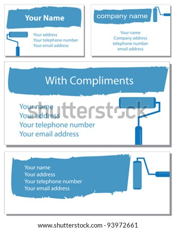 Two business card designs, a compliment slip and letter head in vector format. - stock vector