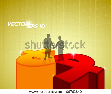 two business man handshake and standing on money sign - stock vector