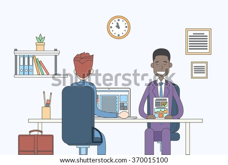 Two Business Man Report Document Talking Discussing, Businessmen Sitting Office Desk Meeting Communication Vector Illustration - stock vector