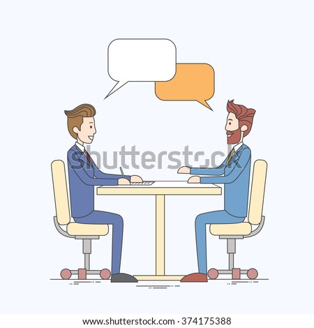 Two Business Man Talking Discussing Chat Box Bubble Communication Sitting at Office Desk Vector Illustration - stock vector