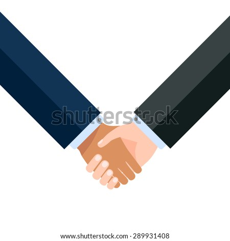 Two business partners agreed a deal and doing handshaking - stock vector