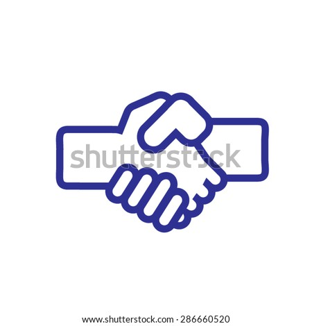 Two business partners agreed deal and doing handshaking. Handshake vector icon.  - stock vector