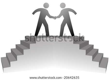 Two business people climb stairs to a podium to shake hands on deal. - stock vector