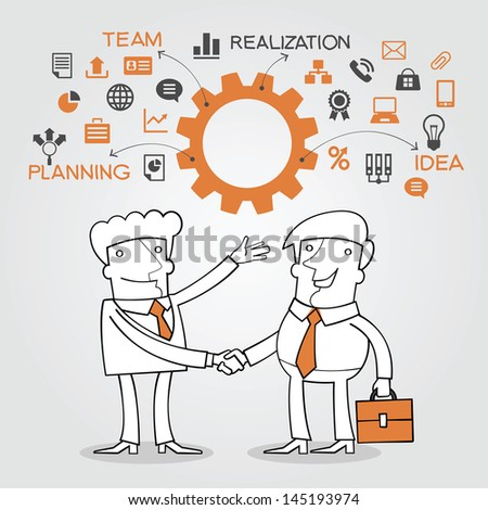 Two business people shaking hands, - stock vector