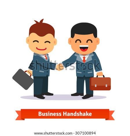 Two business people shaking hands. Happy smiling businessman in suit and with briefcase. Deal closing concept. Flat style cartoon vector illustration isolated on white background. - stock vector