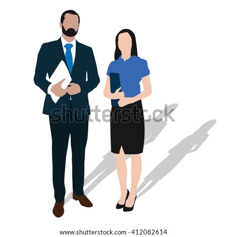 Two business people stand with documents in hand - vector isolated illustration. Businessman and businesswoman standing. Formal wear. Man with beard in suit. Woman in skirt and high heels shoes. Pair - stock vector