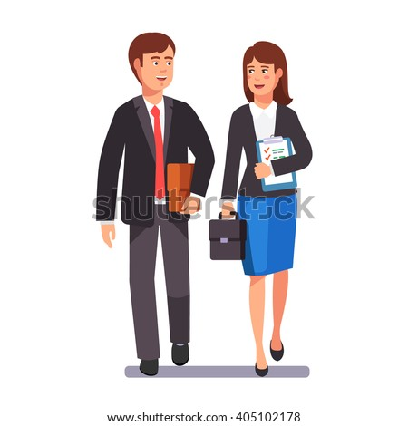 Two business professionals man and woman walking together discussing a project. Flat style vector illustration.