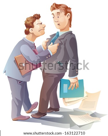 Two businessman are arguing. And maybe they are close to a fight. - stock vector