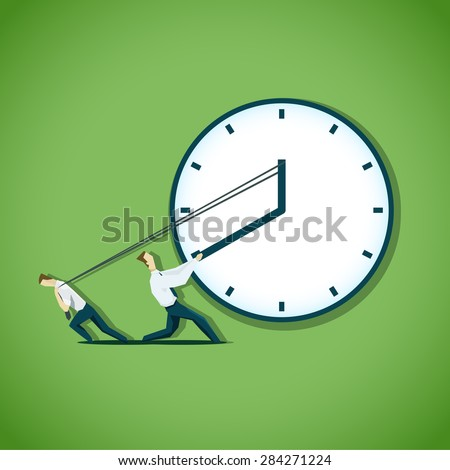 Two businessman are trying to slow the time - stock vector