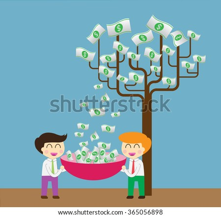 Two businessman collect money dollar by tree. interest and dividend concept. idea business. - stock vector