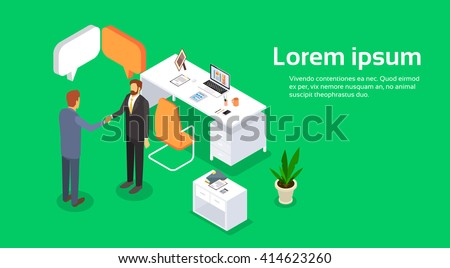 Two Businessman Hand Shake Office Desk Interior, Business Man Agreement Concept Handshake 3d Isometric Vector Illustration - stock vector