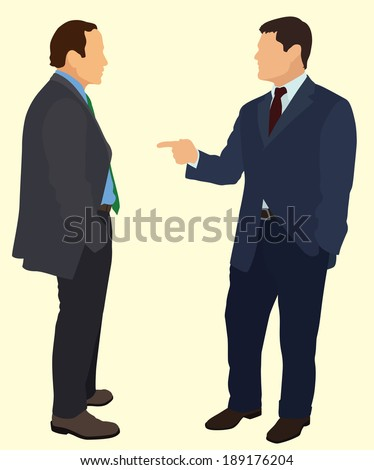 Two Businessman Having a Conversation with  one Pointing at the Other - stock vector