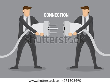 Two businessman holding huge wired electrical plug and socket ready to establish connection. Creative conceptual vector illustration for business connection metaphor isolated on plain grey background. - stock vector