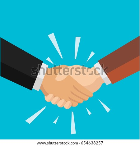 Two businessman shaking hand for agreement vector flat style