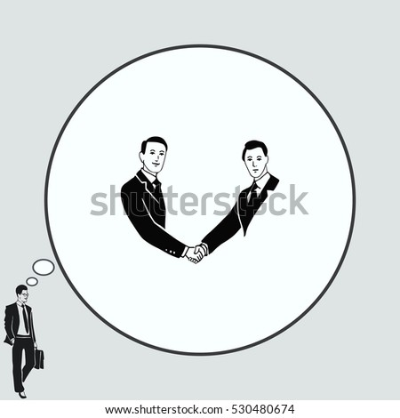 Two businessman shaking hands. Successful contract business. Cooperation. Vector illustration.