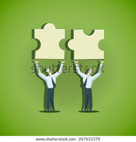 Two businessman trying to combine puzzle pieces - stock vector