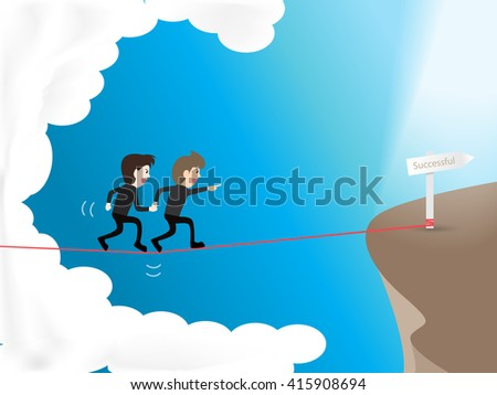 two businessman walking on rope in sky go to successful target, building trust inside team becomes stronger and success