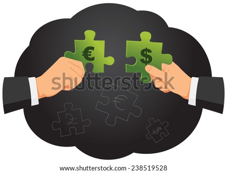 Two businessmen are holding puzzle pieces with currencies - stock vector