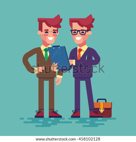 Two businessmen are looking at clipboard. Businessman in formal suit is showing a document on a clipboard to his colleague. Vector illustration in flat style. - stock vector