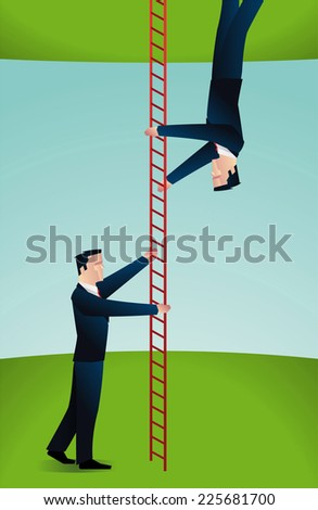 Two businessmen climbing a ladder in different directions. - stock vector