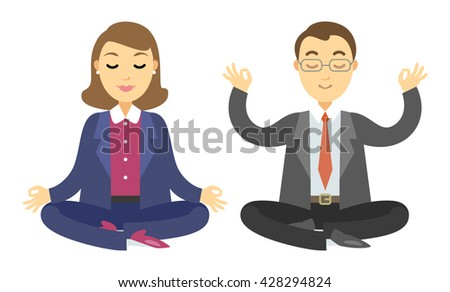 Two businessmen doing meditation. Man and woman doing yoga meditation or relaxing. Vector cartoon illustration - stock vector