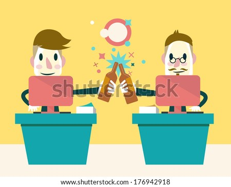 Two businessmen  Enjoying Success. Work and Drink together. Business concept. Vector - stock vector