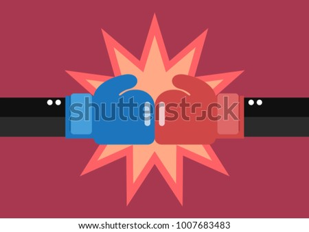 Two businessmen hand with boxing gloves fighting. Vector illustration