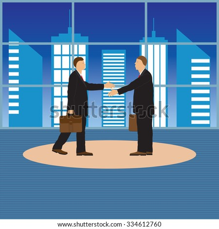Two businessmen. Handshake. Greeting. Congratulation. Conclusion of the contract.  - stock vector