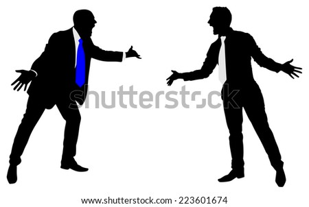 Two businessmen having an argument, vector - stock vector