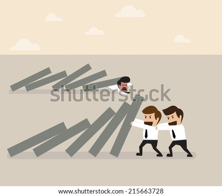 Two businessmen helping together to prevent domino falling - stock vector