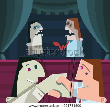 Two businessmen in puppet theater with smile on their faces shake their hands. Both hold puppets with angry expressions on their faces.  - stock vector