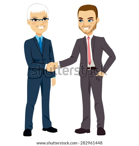 Two businessmen, one senior and one young, shaking hands happy standing negotiating - stock vector