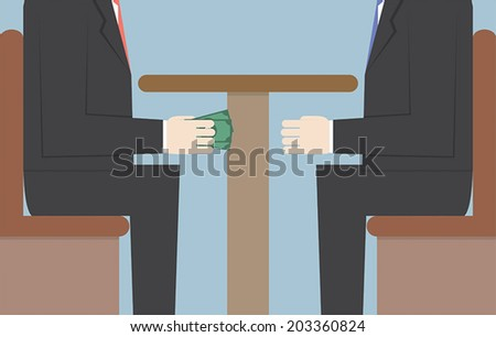 Two Businessmen Passing Money Under the Table, Bribery, Corruption Concept, VECTOR, EPS10 - stock vector