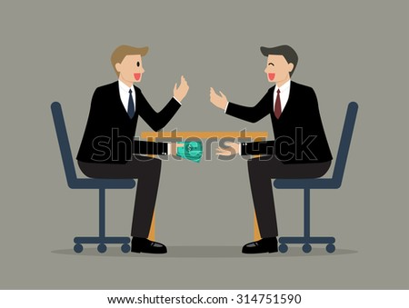 Two Businessmen Passing Money Under the Table. Business corruption concept - stock vector