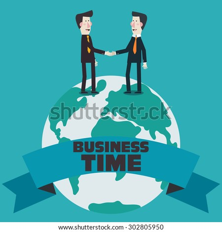 Two  businessmen shake hands over world map. Concept of international partnership, cooperation and teamwork in business. Flat modern design style. - stock vector