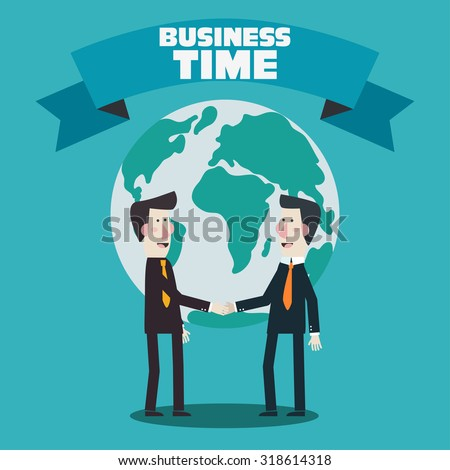 Two businessmen shake hands over world map. Concept of international partnership, cooperation and teamwork in business. Flat modern design style - stock vector