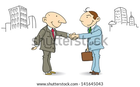 two businessmen shaking hands in the street. The deal is good !