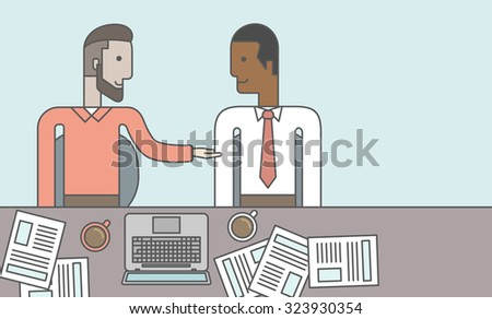 Two businessmen sitting while talking in front of laptop and documents. Business partnership concept. Vector line design illustration. Horizontal layout with a text space. - stock vector